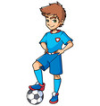 football boy standing vector image vector image