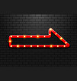 frame light sign arrow retro on background brick vector image vector image