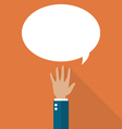 Hand raised with speech bubble vector image vector image