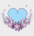 heart with branches flowers icon vector image vector image