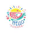 hello summer logo summer season label colorful vector image
