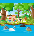 kids reading book in the forest vector image