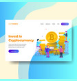 landing page template of cryptocurrency investment vector image