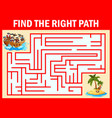 maze game find a pirates boys group way to treasur vector image vector image