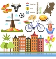 Netherland flat icons design travel concept vector image