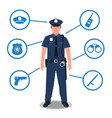 police officer with police equipment radio baton vector image vector image