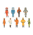 protective suits set different protective uniform vector image