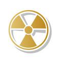 radiation round sign golden gradient icon vector image