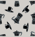seamless pattern with hand drawn stylized espresso vector image