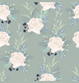 seamless pattern with white roses flowers leaves vector image vector image