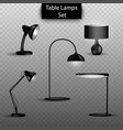 set of 3d isolated table lamps on vector image