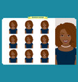 set of black woman expressionbusinesswoman vector image vector image