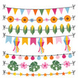 set tropical summer garlands string lights vector image vector image