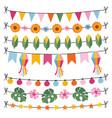 set tropical summer garlands string lights vector image vector image