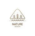 simple triangle logo trees and river vector image vector image