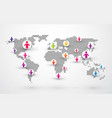 social people connection world map vector image