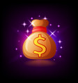 sparkling bag with money slot icon for online vector image vector image