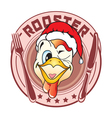 sticker in the form of a rooster head vector image vector image