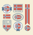 stickers tags and labels with norway flag - badges vector image vector image