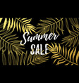 summer sale black background with golden palm vector image