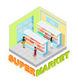 supermarket milk department isometric vector image vector image