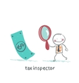 tax inspector with magnifying glass looking for vector image vector image