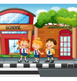 Three students waiting to cross the road vector image vector image
