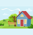 village cottage in the field vector image