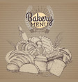 vintage bakery products on cardboard background vector image