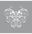 White paper butterfly with floral pattern on gray vector image