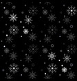 winter seamless snowflake pattern on black vector image vector image