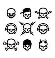 set of skulls logo symbol sign vector image