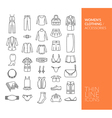 Set with thin line icons with clothing vector image