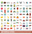 100 world icons set flat style vector image