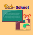 back to school poster with redhead girl profile vector image