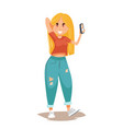 beautiful blonde girl holding her mobile phone vector image vector image