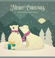 beautiful retro christmas card with polar bears vector image