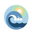 big wave round emblem vector image vector image