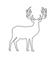 black outline silhouette of reindeer with big vector image vector image