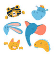 Cartoon animal heads set modern concept flat
