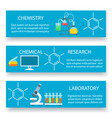 chemistry lab banners set vector image vector image