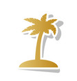 coconut palm tree sign golden gradient vector image