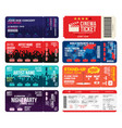 concert cinema airline and football ticket vector image vector image