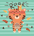 cute tiger characters roar vector image vector image