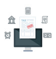 desktop computer with tax financial icons vector image vector image