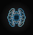digital brain colorful outline icon on dark vector image vector image