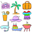 doodle of cartoon object summer vector image vector image