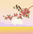 Evening in the garden blooming cherry vector image vector image