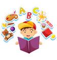 happy boy reading storybook alone vector image vector image