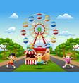 happy kids jumping and laughing in amusement park vector image vector image